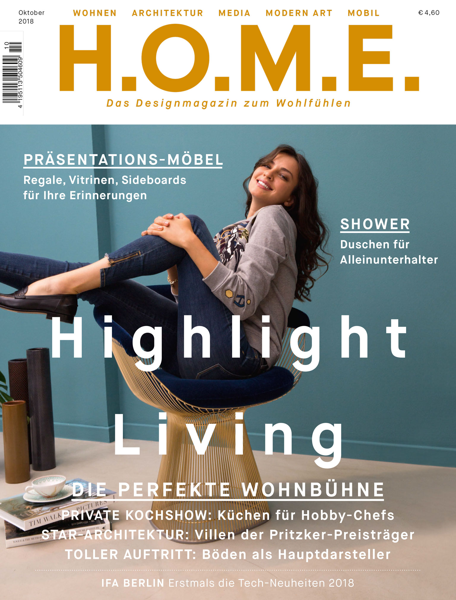 Cover of Home Magazine featuring an interview with architect, Bettina Zerza.